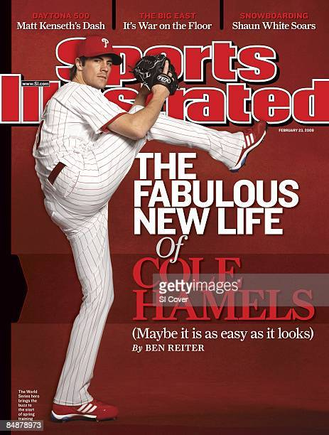 February 23, 2009 Sports Illustrated via Getty Images Cover: Baseball: Portrait of Philadelphia Phillies pitcher Cole Hamels during spring training...