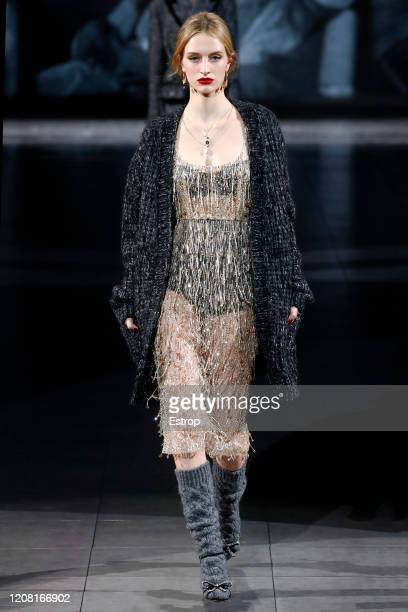 February 23: A model walks the runway during the Dolce e Gabbana fashion show as part of Milan Fashion Week Fall/Winter 2020-2021 on February 23,...
