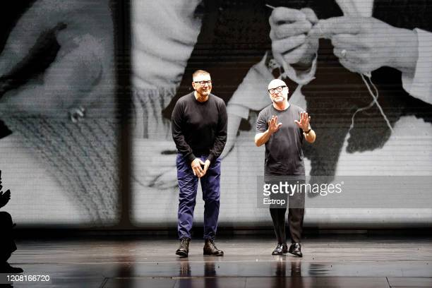 Fashion designers Stefano Gabbana Domenico Dolce during the Dolce e Gabbana fashion show as part of Milan Fashion Week Fall/Winter 20202021 on...
