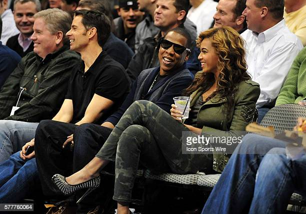 JayZ and wife Beyonce courtside during the NBA game between the Los Angeles Lakers and the Dallas Mavericks at the American Airlines Center in Dallas...