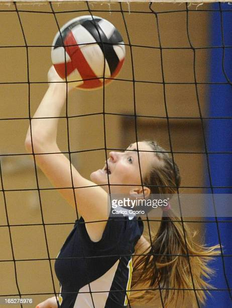 February 24 2010 Lauren Pruner of Mowat makes a play at the net Sir Oliver Mowat College girls volleyball team defeated Lawrence Park to win the...
