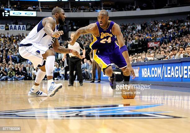 Los Angeles Lakers guard Kobe Bryant drives in past Dallas Mavericks guard DeShawn Stevenson during an NBA game between the Los Angeles Lakers and...