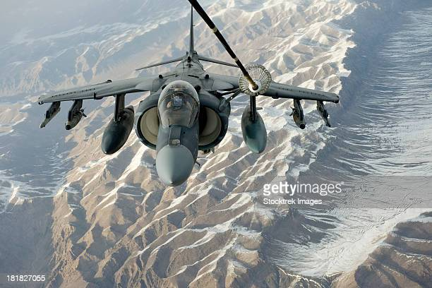 February 24, 2012 - A U.S. Marine Corps A/V-8B Harrier receives fuel over Afghanistan from a KC-10 Extender.
