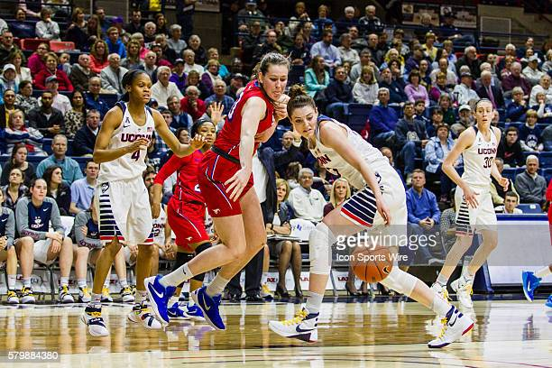 UConn Huskies Guard Katie Lou Samuelson and SMU Forward Alicia Froling going for a rebound during a Women's American Athletic Conference D1...