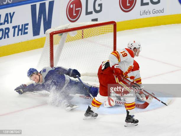 February 24 In third period action, Toronto Maple Leafs center Travis Boyd goes hard into the Calgary net. The Toronto Maple Leafs played the Calgary...