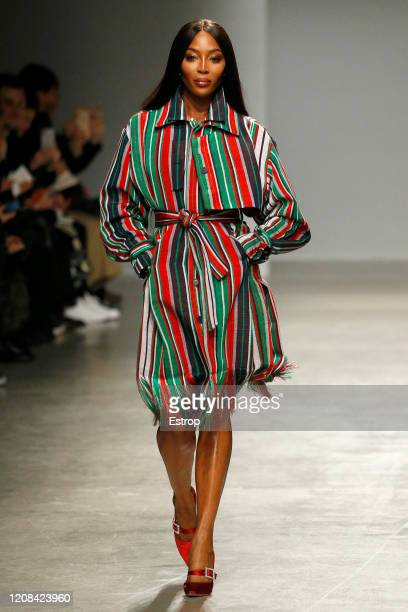 Model Naomi Campbell walks the runway during the Kenneth Ize show as part of the Paris Fashion Week Womenswear Fall/Winter 2020/2021 on February 24...