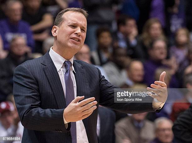 Northwestern Head Coach Chris Collins talks to players during the game between the Indiana Hoosiers and Northwestern Wildcats hosted at WelshRyan...