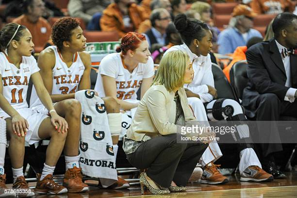 Texas Longhorn Head Coach Karen Aston and bench during first half action of the Oklahoma State Cowgirls vs Texas Longhorns Big 12 women's basketball...