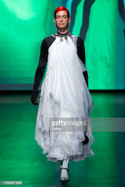 February 25: A model walks the runway during the Marine Serre show as part of the Paris Fashion Week Womenswear Fall/Winter 2020/2021 on February 25,...
