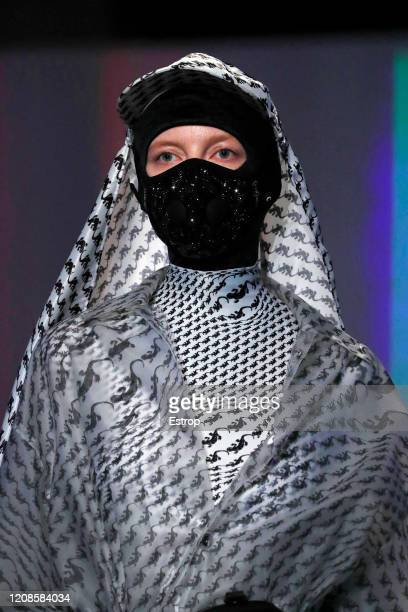 February 25: Headshot during the Marine Serre show as part of the Paris Fashion Week Womenswear Fall/Winter 2020/2021 on February 25, 2020 in Paris,...