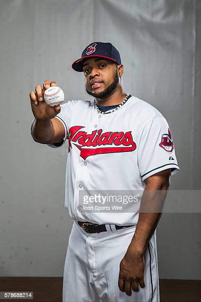 Infielder Carlos Santana poses for a portrait during the Cleveland Indians photo day in Goodyear AZ