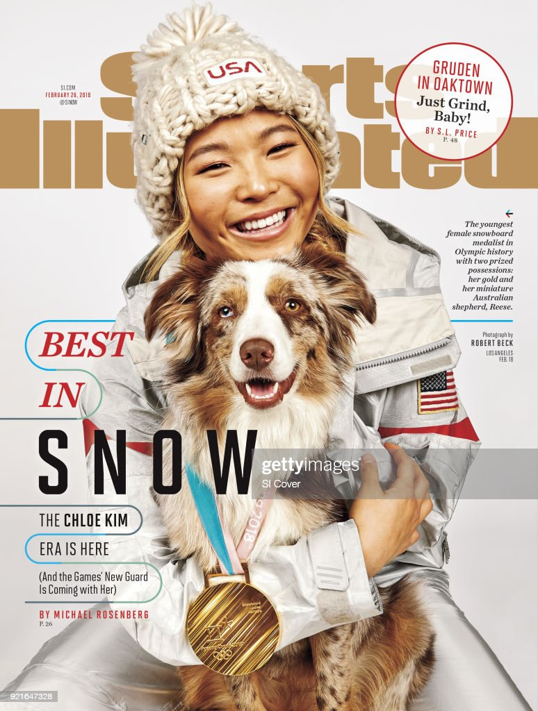 February 26, 2018 Sports Illustrated Cover: Portrait of USA Chloe Kim posing with her Australian shepherd dog Reese and gold medal during photo shoot at Los Coyotes Country Club. Kim won gold in the Women's Halfpipe during the 2018 Winter Olympics in PyeongChang. Robert Beck TK1 )
