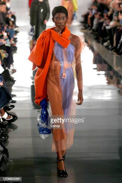 February 26: A model walks the runway during the Maison Margiela show as part of the Paris Fashion Week Womenswear Fall/Winter 2020/2021 at Grand...
