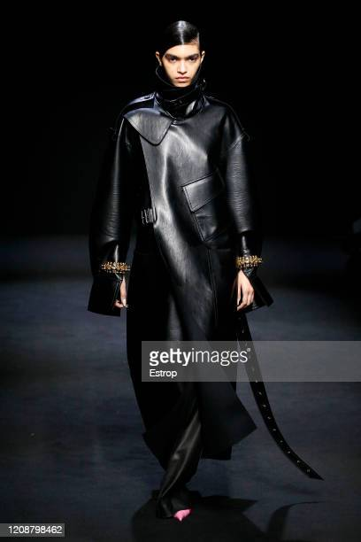 February 26: A model walks the runway during the Mugler show as part of the Paris Fashion Week Womenswear Fall/Winter 2020/2021 on February 26, 2020...