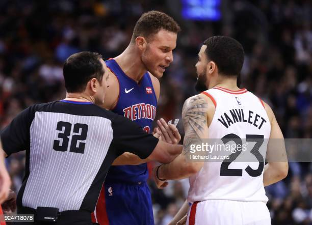 TORONTO ON February 26 In second half action Detroit Pistons forward Blake Griffin and Toronto Raptors guard Fred VanVleet have some words and...