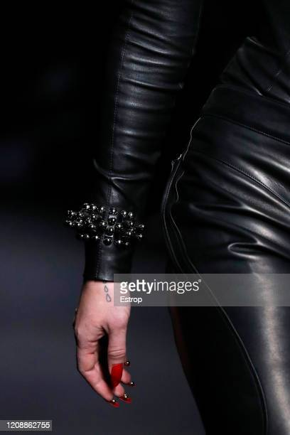 February 26: Jewelry detail during the Mugler show as part of the Paris Fashion Week Womenswear Fall/Winter 2020/2021 on February 26, 2020 in Paris,...