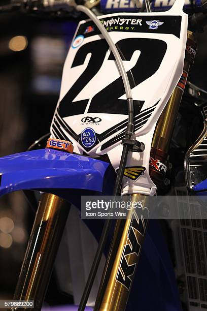 Monster Energy/360fly/Chaparral/Yamaha Factory Racing Chad Reed motorcycle in the pit area prior to the race in round 8 of the AMA Monster Energy...