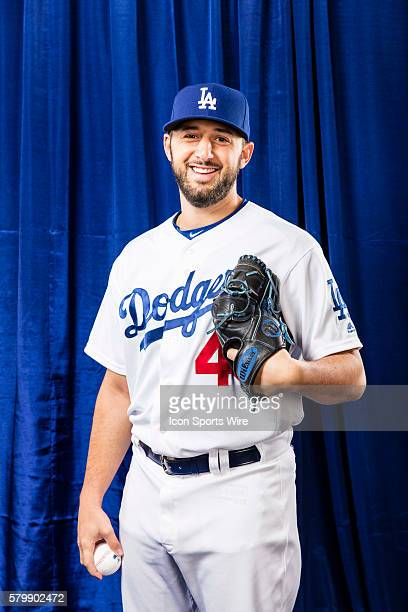 Pitcher Mike Bolsinger poses for a portrait during the Los Angeles Dodgers photo day in Glendale Ariz