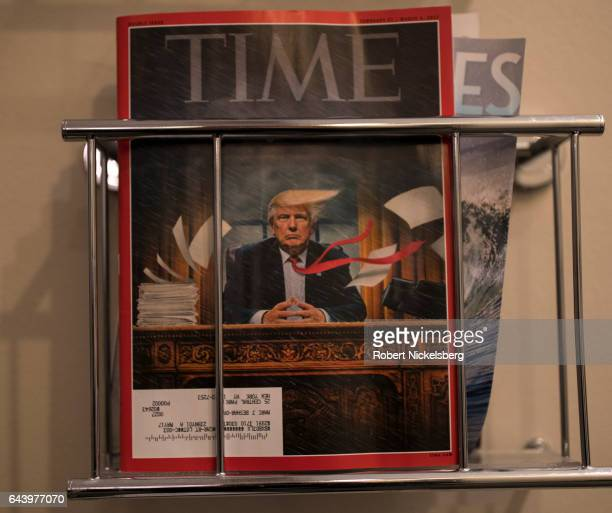 February 27 2017 copy of TIME magazine sits in a rack at a doctor's office February 21 2017 in New York City Artist Tim O'Brien illustrated the cover...