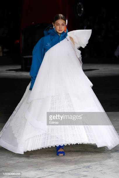 February 27: Gigi Hadid walks the runway during the Off-White show as part of the Paris Fashion Week Womenswear Fall/Winter 2020/2021 on February 27,...