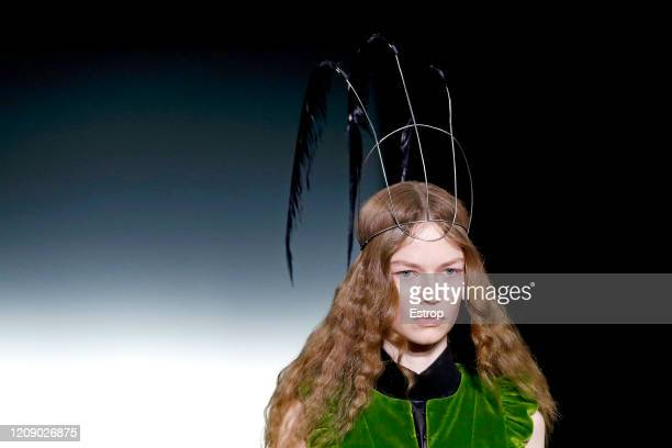 February 27: Headshot during the Ann Demeulemeester show as part of the Paris Fashion Week Womenswear Fall/Winter 2020/2021 on February 27, 2020 in...