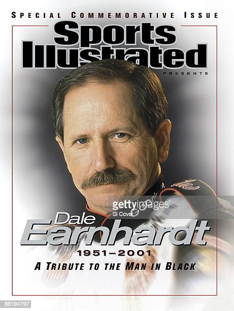 February 28 2001 Sports Illustrated Cover Auto Racing NASCAR Closeup portrait of Dale Earnhardt during photo shoot Commemorative Mooresville NC...