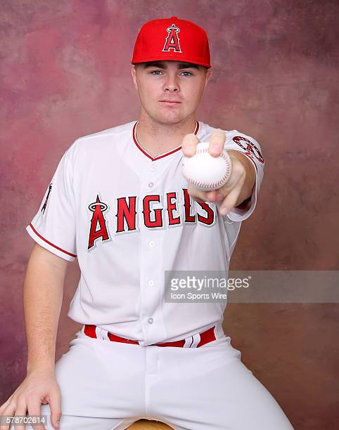 Angels Pitcher Sean Newcomb poses for a portrait during the Los Angeles Angels photo day inside Tempe Diablo Stadium in Tempe AZ