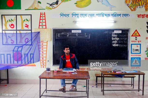 February 28 2019 Dhaka Bangladesh At Dhaka North City Corporation mayor election voters are rarely seen at the voting poll Polling agent and...