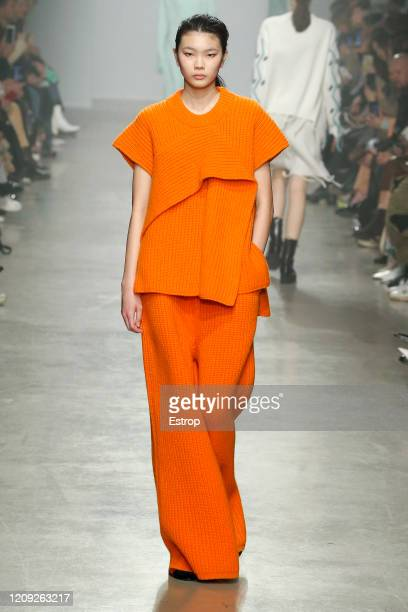 February 28: A model walks the runway during the Christian Wijnants show as part of the Paris Fashion Week Womenswear Fall/Winter 2020/2021 on...