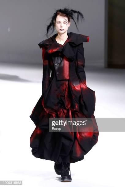 February 28: A model walks the runway during the Yohji Yamamoto show as part of the Paris Fashion Week Womenswear Fall/Winter 2020/2021 on February...