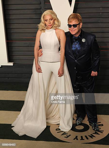 February 28 Beverly Hills Ca Recording artists Lady Gaga and Elton John arrive at the 2016 Vanity Fair post Oscar party in Beverly Hills Ca...