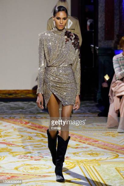 Model Cindy Bruna walks the runway during the Redemption show as part of the Paris Fashion Week Womenswear Fall/Winter 2020/2021 on February 28 2020...