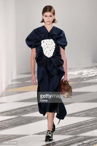 February 28: Model Kaia Gerber walks the runway during the Loewe show as part of the Paris Fashion Week Womenswear Fall/Winter 2020/2021 on February...