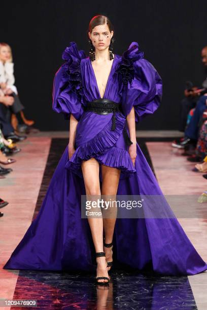 February 29: A model walks the runway during the Elie Saab show as part of the Paris Fashion Week Womenswear Fall/Winter 2020/2021 on February 29,...