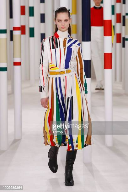 February 29: A model walks the runway during the Hermes as part of the Paris Fashion Week Womenswear Fall/Winter 2020/2021 on February 29, 2020 in...