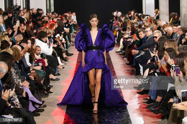 February 29: Atmosphere during the Elie Saab show as part of the Paris Fashion Week Womenswear Fall/Winter 2020/2021 on February 29, 2020 in Paris,...