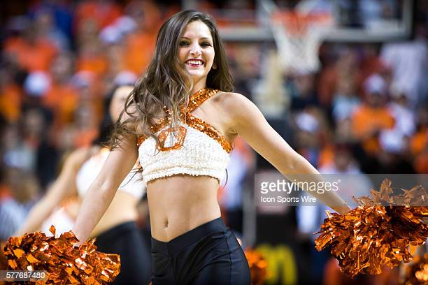 Oklahoma State Cowboys cheerleader during the NCAA basketball Big 12 Confrence game between the Iowa State Cyclones and the Oklahoma State Cowboys at...