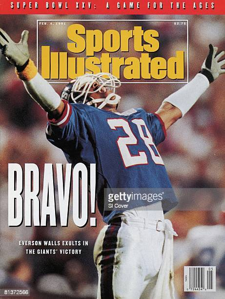February 4 1991 Sports Illustrated Cover Football Super Bowl XXV New York Giants Everson Walls victorious during game vs Buffalo Bills Tampa FL...
