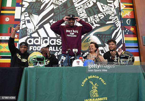 Joseph Wicker of the Long Beach Poly High School Jackrabbits announces his choice to sign with the Arizona State on National Signing Day at Long...