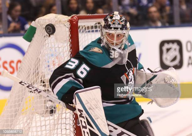 TORONTO ON February 4 In first period action Anaheim Ducks goaltender John Gibson keeps his eyes on a shot The Toronto Maple Leafs played the Anaheim...