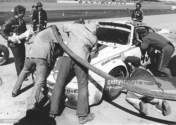 The winning Porsche 911 Carrera RSR gets refueled on pit road during the 24 Hours of Daytona at Daytona International Speedway Hurley Haywood John...