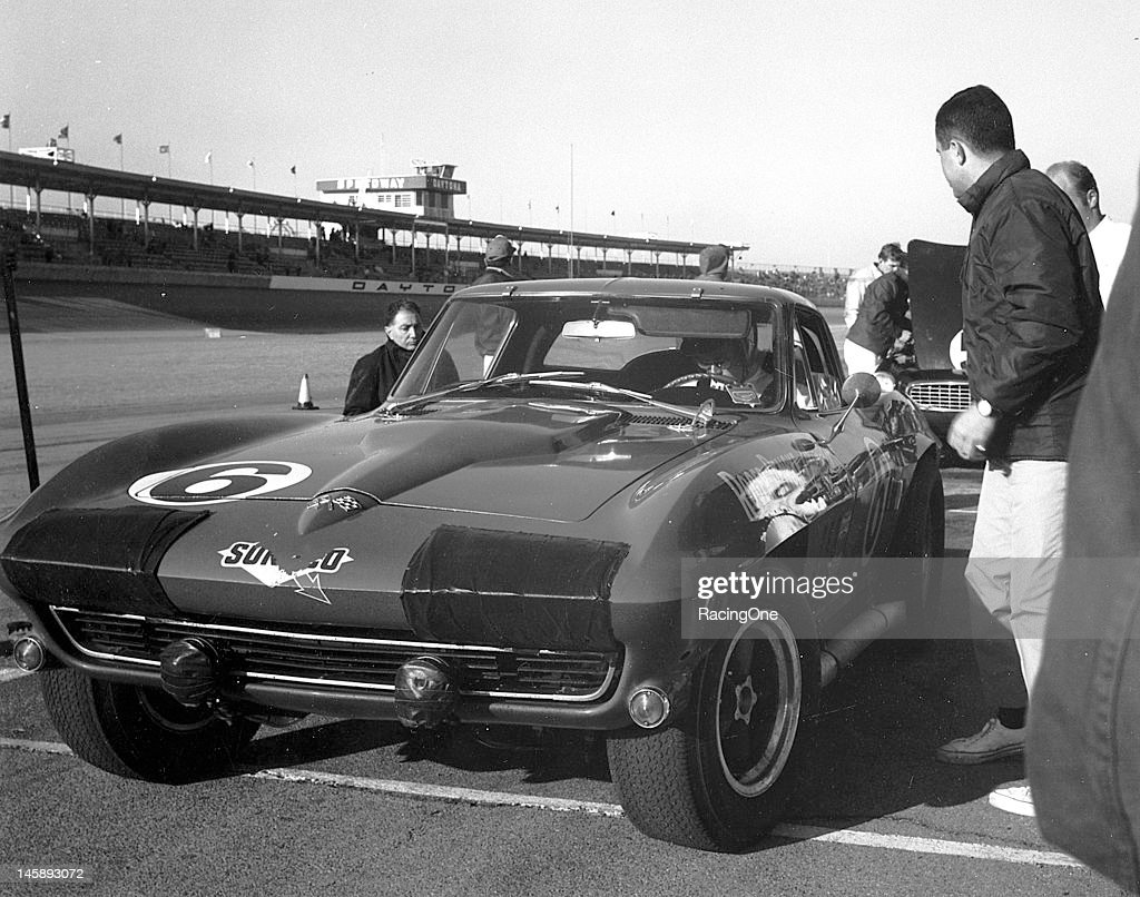 The Chevrolet Corvette Sting Ray entered by Roger Penske makes a pit