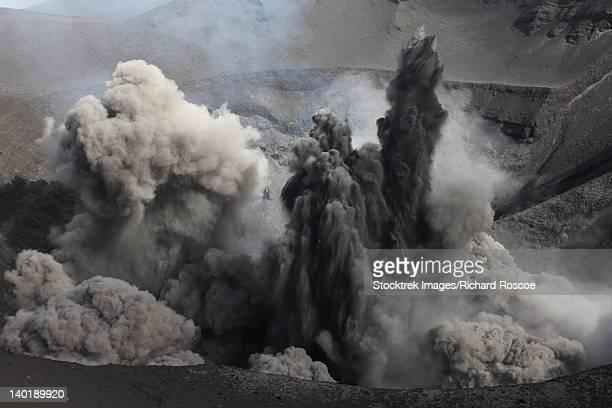 february 6, 2010 - ash cloud eruption on yasur volcano, tanna island, vanuatu. - caldera stock pictures, royalty-free photos & images