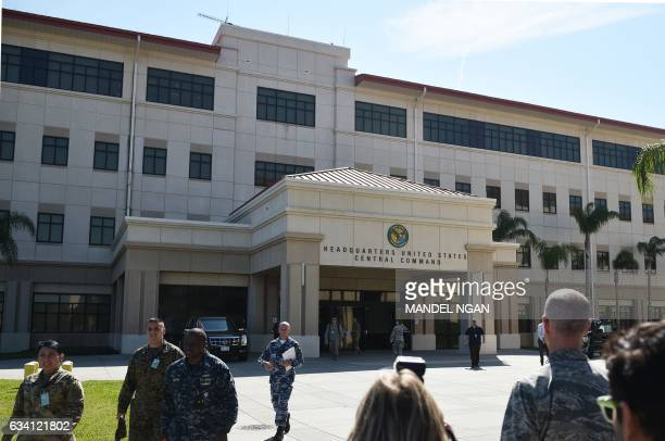 A February 6 2017 photo shows the headquarters of the US Central Command at MacDill Air Force Base on February 6 2017 in Tampa Florida / AFP / MANDEL...