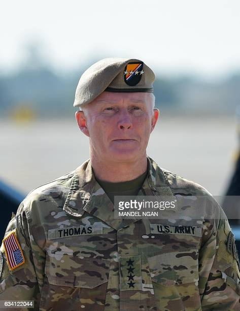 A February 6 2017 photo shows US Special Operations Command commander General Raymond Thomas awaiting the arrival of US President Donald Trump at...