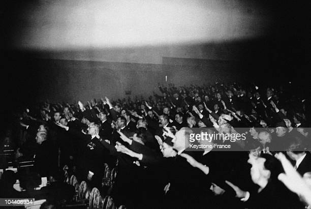 February 6th 1935 The league of the Patriotic Youths holding a meeting in Paris in the rameau hall in hommage to the victims of February 6th 1934