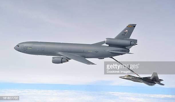 February 7, 2013 - A KC-10 Extender refuels an F-22 Raptor during Exercise Razor Talon at Seymour Johnson Air Force Base, North Carolina.