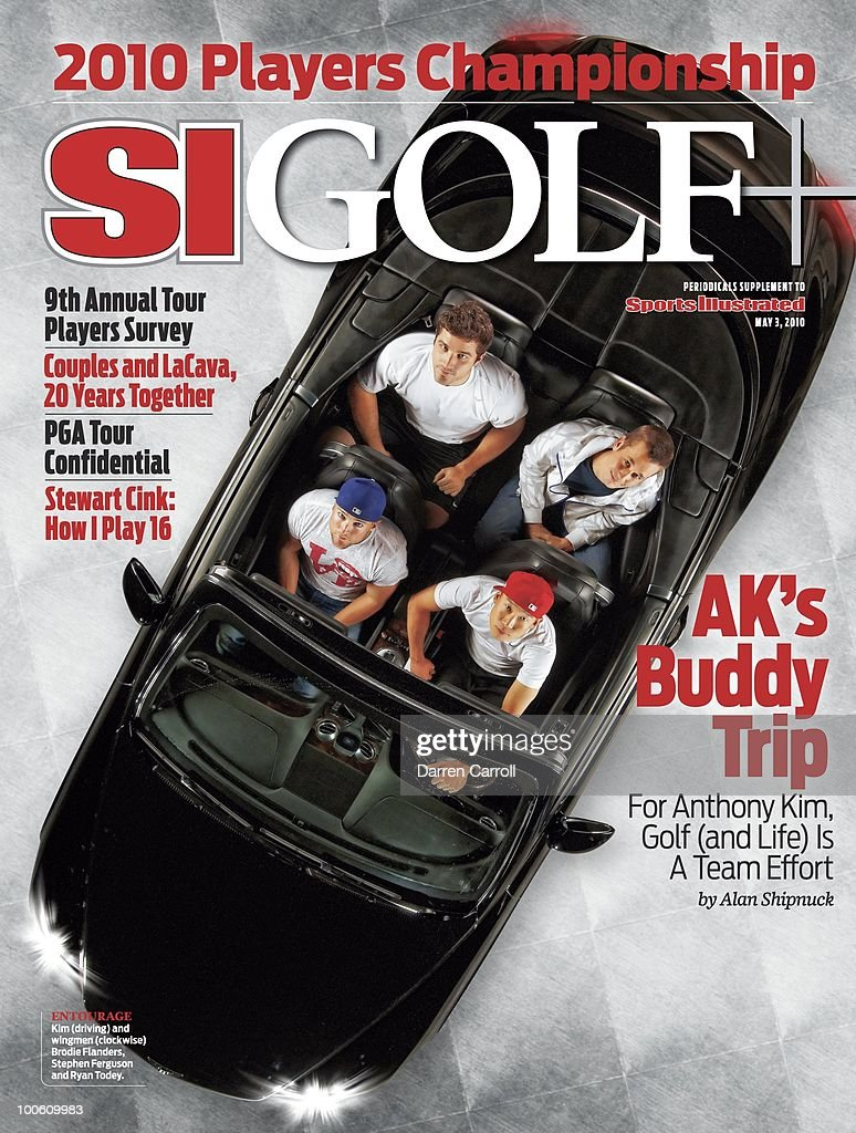 February 8, 2010 Sports Illustrated Golf Plus Cover: Golf: The Players Championshp Preview: Aerial portrait of Anthony Kim in car with friends Brodie Flaners, Stephen Ferguson, and Ryan Todey during photo shoot at home. Dallas, TX 3/19/2010