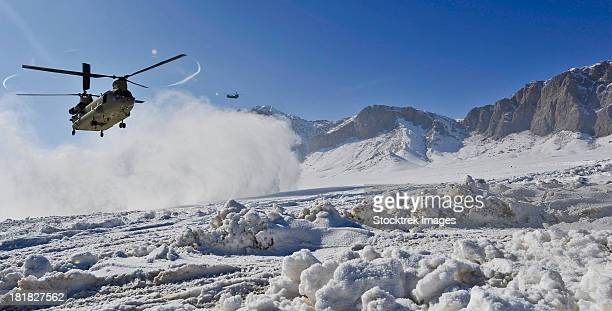 February 8, 2012 - Snow flies up as a U.S. Army CH-47 Chinook helicopter lands at a remote landing zone in Shahjoy district, Zabul province, Afghanistan.