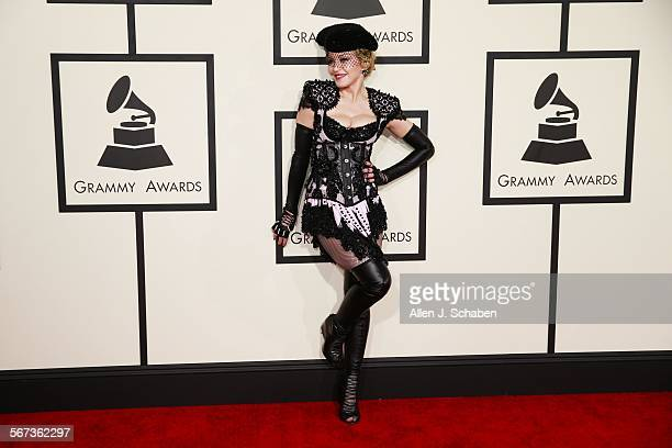LOS ANGELES CA February 8 2015 Madonna during the arrivals at the 57th Annual GRAMMY¬AE Awards at STAPLES Center in Los Angeles CA Sunday February 8...